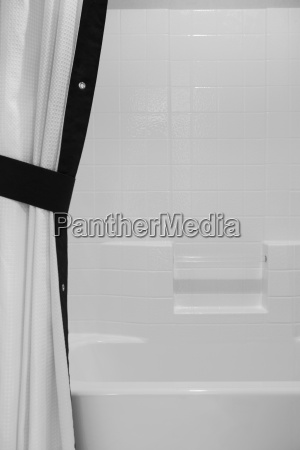 black and white shower curtain and