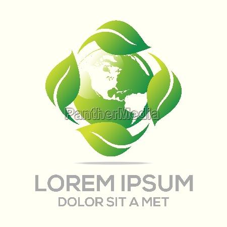 logo abstract bio leaves natural ecologi