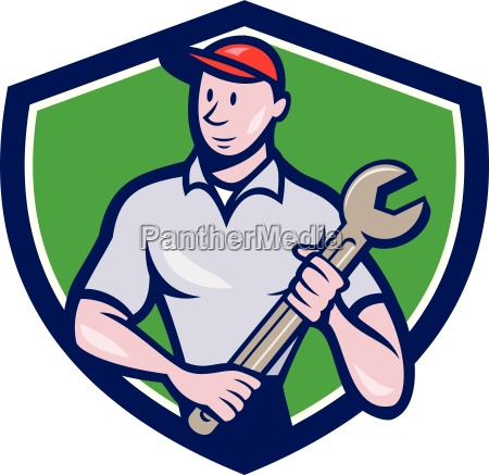 illustration of a mechanic worker standing