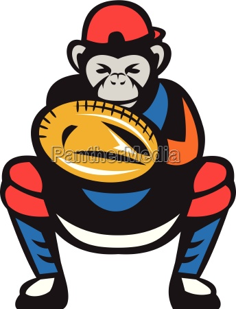 chimpanzee baseball catcher retro