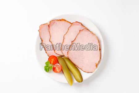thin sliced smoked pork meat