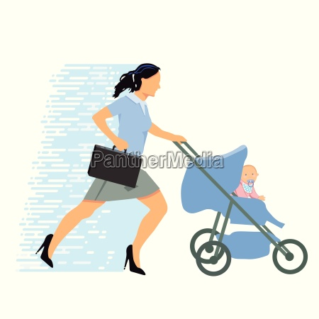 stressed businesswoman with baby
