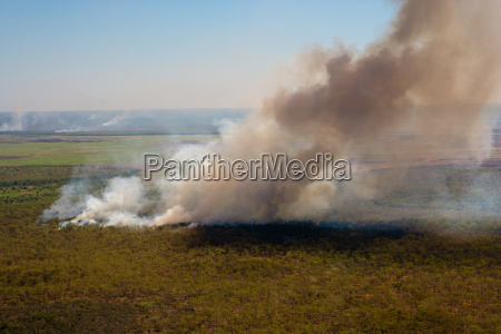 aerial of smoke rising from a