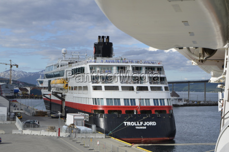 ship of hurtigruten in the port
