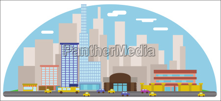 digital vector abstract background with cityscape