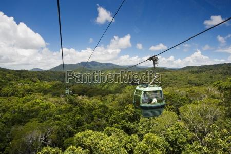 gondola cabin of skyrail over rainforest