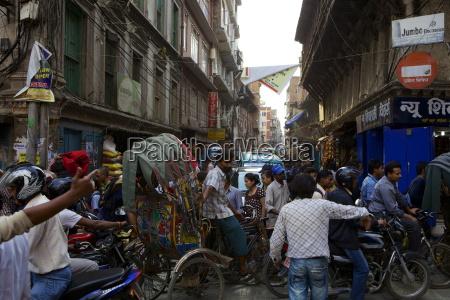 traffic jam street scene kathmandu nepal