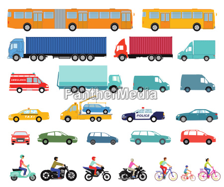carstruckbusscootermotorcycleset of urban cars